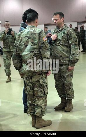 James Miller, a chaplain with the Taylor-based 210th Military Police Battalion, Michigan National Guard, was promoted to Major, Oct. 13, 2018 at a ceremony in the Taylor Armory. (Michigan National Guard - Stock Photo