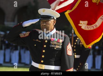 Retired U.S. Marine Corps Sgt. Maj. John L. Canley, the 298th Marine Medal of Honor recipient, salutes during his parade at Marine Barracks Washington, D.C., Oct. 19, 2018. From Jan. 31, to Feb. 6 1968 in the Republic of Vietnam, Canley, the company gunnery sergeant assigned to Alpha Company, 1st Battalion, 1st Marines, took command of the company, led multiple attacks against enemy-fortified positions, rushed across fire-swept terrain despite his own wounds and carried wounded Marines into Hue City, including his commanding officer, to relieve friendly forces who were surrounded.