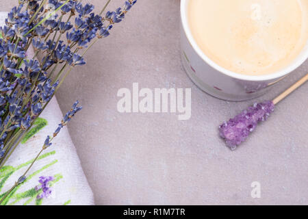 spa concept - towels, lavender flowers isolated on grey background copy space - Stock Photo