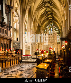 The Reredos, Alter, and Chancery of Bristol Cathedral - Stock Photo