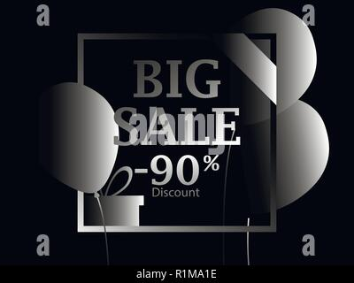 Black Friday. Big sale. Poster with black balloons and gift boxes in the frame. 90 percent discount. Vector illustration - Stock Photo