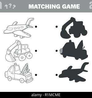 Cartoon Vector Illustration of Education. Shadow Matching Game for Children - Stock Photo