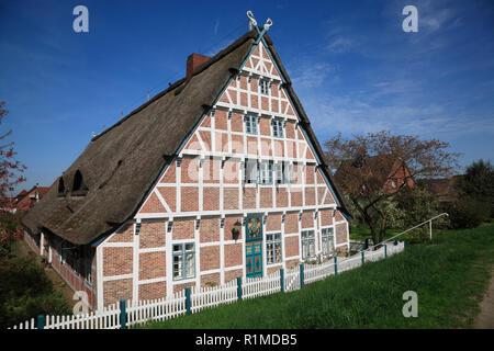 Old Farmhouse at Este-dike, Jork-Koenigreich, Altes Land, Lower Saxony, Germany, Europe - Stock Photo