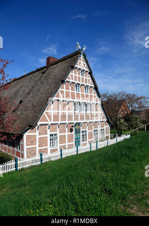 Old Farmhouse at Este-dike, Jork-Koenigreich, Altes Land, Lower Saxony, Germany, Europe - Stock Photo