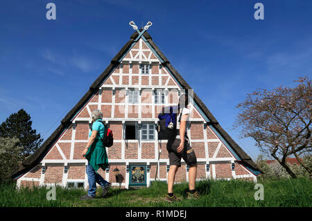 Hiker in front of an Old Farmhouse at Este-dike, Jork-Koenigreich, Altes Land, Lower Saxony, Germany, Europe - Stock Photo