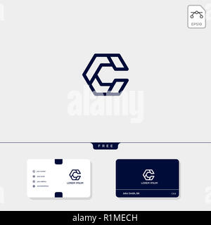 Initial C, CC creative logo template and business card design template include. vector illustration and logo inspiration - Stock Photo