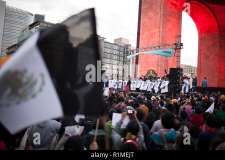 Mexico City, MEXICO - December 6: Students, protestors and family of 43 missing students from Guerrero State in Mexico march through Mexico City to protest the government and demand answers of the missing students, December 6, 2014. The students have been missing since September 26, 2014 and are from the Ayotzinapa teaching college near Chilpancingo, Guerrero, Mexico. - Stock Photo