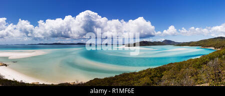 Panorama of Whiteheaven beach, Whitsunday Island, Queensland, Australia - Stock Photo