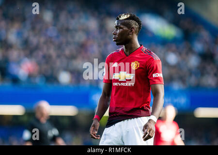 LONDON, ENGLAND - OCTOBER 20: Paul Pogba of Manchester United during the Premier League match between Chelsea FC and Manchester United at Stamford Bridge on October 20, 2018 in London, United Kingdom. (MB Media) - Stock Photo