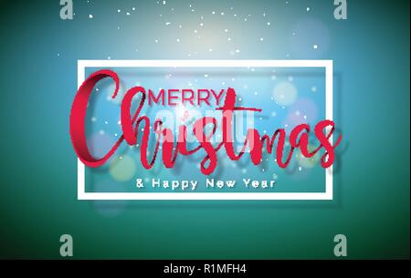 Merry Christmas Illustration with Typography Elements on Shiny Green Background. Vector Holiday Design for Greeting Card, Party Invitation or Promo Banner. - Stock Photo