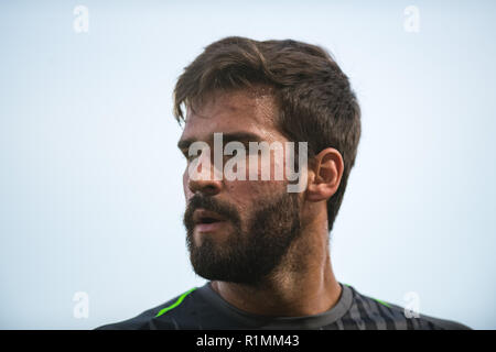 LONDON, ENGLAND - AUGUST 20:  (13) Alisson Becker during the Premier League match between Crystal Palace and Liverpool FC at Selhurst Park on August 20, 2018 in London, United Kingdom. MB Media - Stock Photo