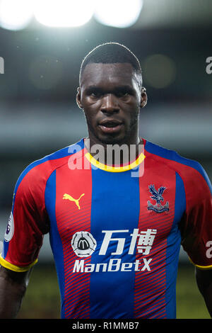 LONDON, ENGLAND - AUGUST 20:  Christian Benteke (17) of Crystal Palace during the Premier League match between Crystal Palace and Liverpool FC at Selhurst Park on August 20, 2018 in London, United Kingdom. MB Media - Stock Photo