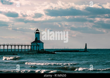 Washington Park LightHouse in Michigan City on a fall evening on 9/26/2018 - Stock Photo
