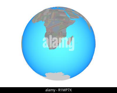 eSwatini with national flag on blue political globe. 3D illustration isolated on white background. - Stock Photo