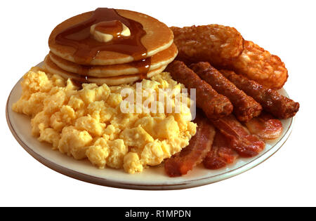 super breakfast with scrambled eggs, bacon, sausage, hashed browns and pancakes - Stock Photo
