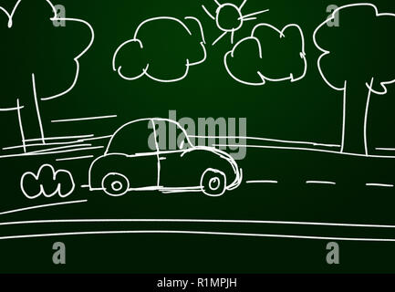 Childish car drawing on a green chalk board with road, clouds, trees and sun. - Stock Photo