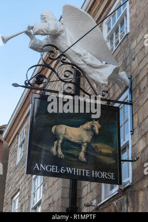 Pub sign for the Angel and White Horse public house on Bridge Street in Tadcaster, North Yorkshire - Stock Photo