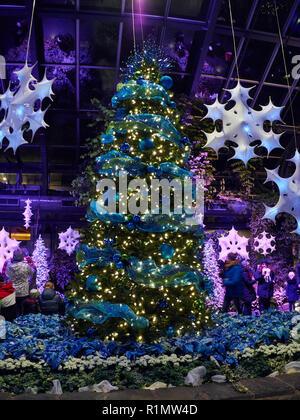 Christmas tree at Calgary Zoo lights in Calgary, Alberta, Canada.  Zoolights is an event that runs each December at Calgary Zoo. - Stock Photo