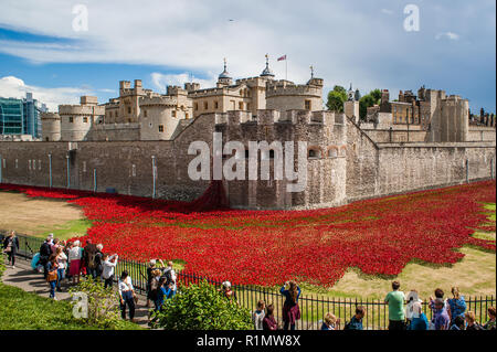 Thousands of handmade ceramic poppies fill the moat at The Tower of London to commemorate the fallen soldiers in the First World War WW1 - Stock Photo