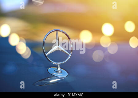 Galati, Romania - September 2, 2017: Mercedes car front logo displayed in an automobile show. Mercedes is an automobiles manufacturer - Stock Photo