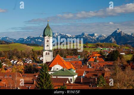 Nesselwang and the Alps, Allgau, Swabia, Bavaria, Germany - Stock Photo