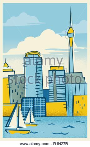 A vintage illustration of the city of Auckland in the style of a retro modern travel poster - Stock Photo