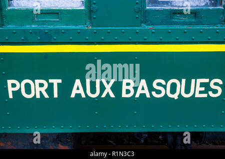 Sign for Port aux Basques on old railway carriage, Newfoundland. - Stock Photo