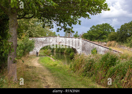 White washed arch bridge over Trent and Mersey Canal in Elworth near Sandbach Cheshire UK - Stock Photo