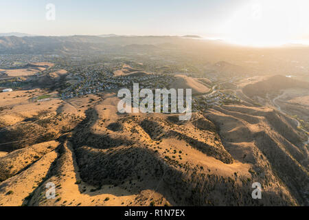 Late afternoon aerial view of Chumash Park and suburban streets near Los Angeles in Simi Valley, California. - Stock Photo
