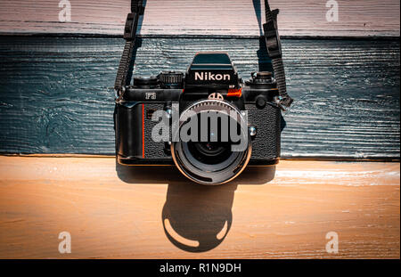 Nikon F3 single lens reflex 35mm professional film camera First launched in 1980 and remained in production until 200 - Stock Photo