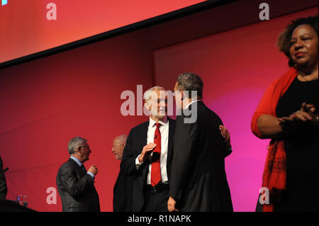 Liverpool, England. 26th September, 2018.  Jeremy Corbyn MP, leader of the Labour Party, talks to his deputy, Tom Watson at the close of conference, o - Stock Photo