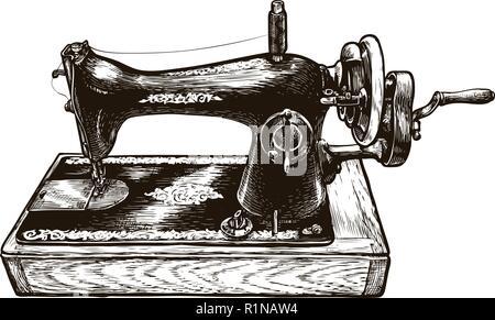 Sewing machine, sketch. Sewing workshop. Vintage vector illustration - Stock Photo