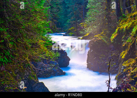 Detail of Little Qualicum Falls, a popular destination in Vancouver Island, BC Canada - Stock Photo