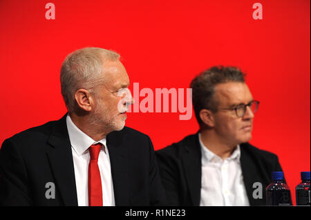Liverpool, England. 23rd September, 2018.  Jeremy Corbyn MP, leader of the Labour party and his deputy Tom Watson MP, listening to contributions from  - Stock Photo