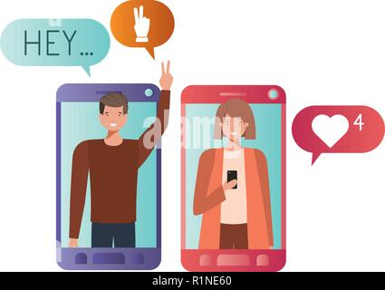 young couple in smartphone avatar character