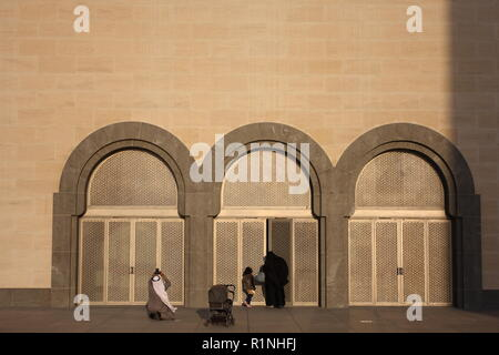 A Gulf Arab family visiting the Museum of Islamic Art, Doha, Qatar - Stock Photo