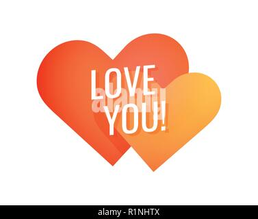 Love You, Simple colorful emblem for decoration of greeting cards or same typography of Love theme - Stock Photo