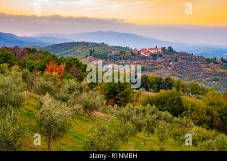 Sunset view over the hills covered in olive trees around Cavriglia in autumn, Tuscany, Italy - Stock Photo