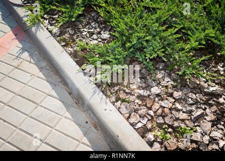 decorative bark powder in landscape design - Stock Photo