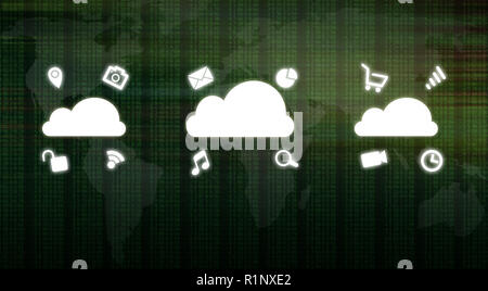 Global cloud computing concept showing media icons over binary code numbers and world map background. Big data information technology future in modern - Stock Photo