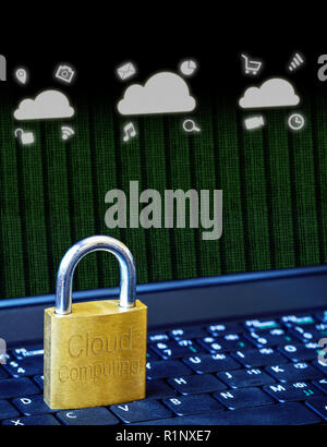 Golden padlock on computer laptop keyboard with Cloud Computing icons and binary data. Concept of Internet security, data privacy, cybercrime preventi - Stock Photo