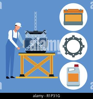 Worker on factory car and assembling shop vector illustration graphic design - Stock Photo