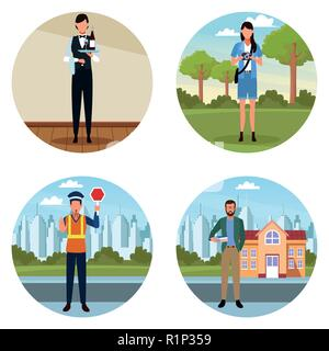 Set of jobs and occupations workers avatar vector illustration graphic design - Stock Photo