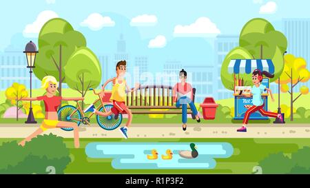 People doing sport in city park - Stock Photo