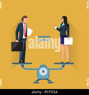 Equal positions of man and woman on scales - Stock Photo