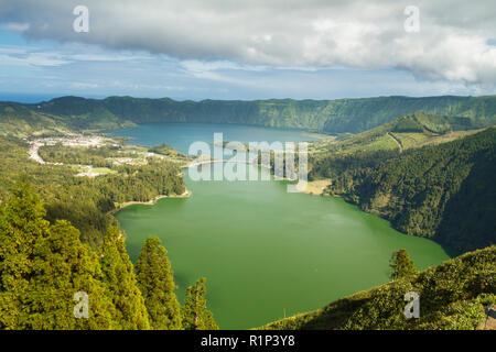 View of Sete Cidades Lakes from the Abandon Monte Palace hotel in Miradouro da Vista do Rei, Sao Miguel island, Azores, Portugal - Stock Photo