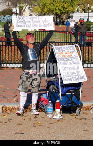 Anti Trump demonstration outside the Whitehouse just after the midterm elections. - Stock Photo