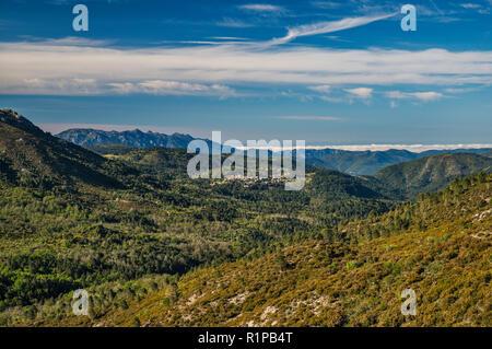Hill town of Aullene, view from Col de la Vaccia, mountain pass on road D69, Alta Rocca microregion, Corse-du-Sud, Corsica, France - Stock Photo