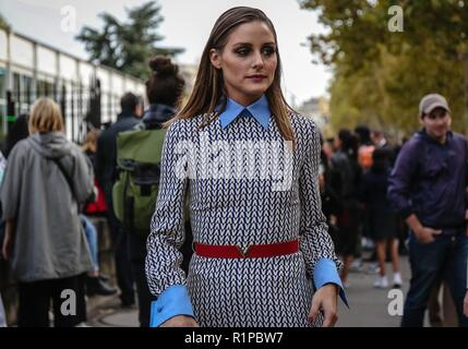 PARIS, France- September 30 2018: Olivia Palermo on the street during the Paris Fashion Week. - Stock Photo