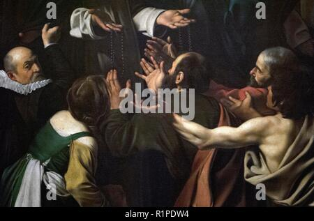 Caravaggio (1571-1610). Italian painter. Madonna of the Rosary, 1607. Detail. Oil on canvas. 364,5 x 249, 5 cm. Baroque style. Kunsthistorisches Museum, Vienna. Austria. - Stock Photo